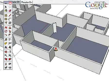 google sketchup官方教学视频--su与cad结合之cad平面图绘制三维墙面