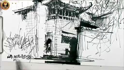 余工钢笔画-宏村桃花源里人家--庐山手绘艺术特训营