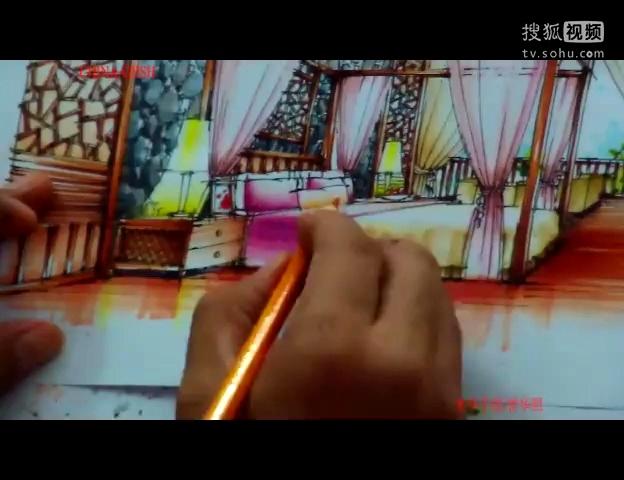 室内手绘 光华手绘 卧室中式设计表现140709