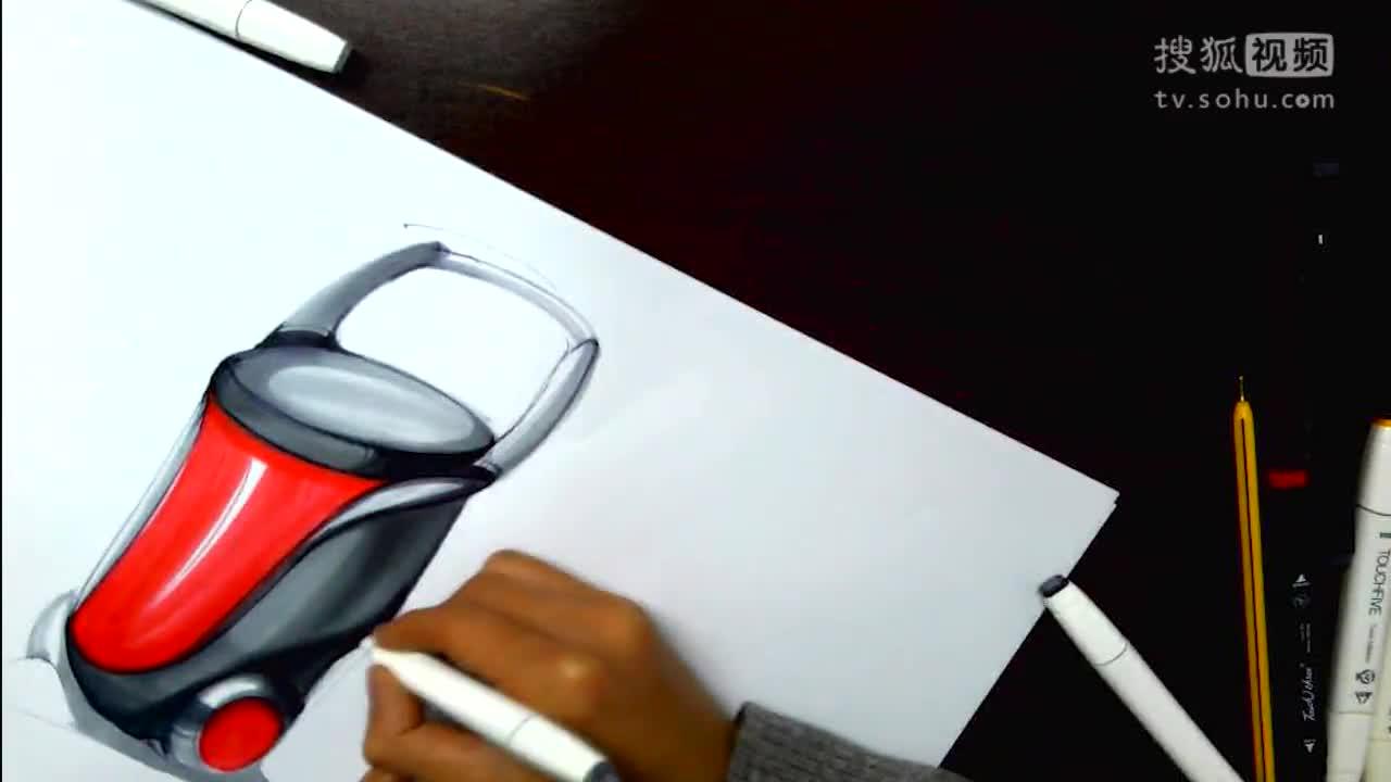 工业设计产品手绘垃圾桶设计手绘表达-下篇 维晶正方工业设计手绘教程